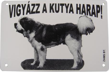 Vigyázz a kutya harap! - Fekete-fehér műanyag tábla bernáthegyivel