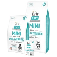 Brit Care Mini Grain Free Light & Sterilised Rabbit & Salmon | Táp kistestű ivartalanított kutyáknak