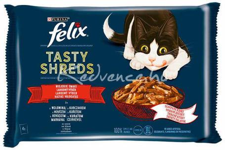 Felix Shreds házias válogatás - Marhás, csirkés tépett falatok szószban macskáknak - Multipack