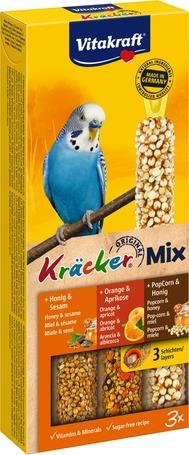 Vitakraft Krakcer Mix mézes, narancsos, popcornos tripla rúd hullámosnak