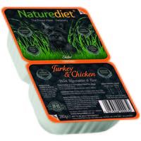 Naturediet műanyag tálkás pulyka- és csirkehúsos kutyaeledel