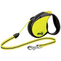 Flexi Neon fényvisszaverő automata kötélpóráz sárga-fekete színben