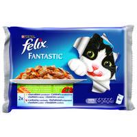 Felix Fantastic aszpikos eledel csirkével és paradicsommal, valamint marhával és sárgarépával macskáknak - Multipack (4 x 100 g)