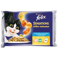 Felix Sensations Jellies halas válogatás (lazac, fekete tőkehal) zamatos aszpikban - Multipack (4 x 100 g)
