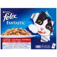 Felix Fantastic alutasakos macskaeledel – Házias válogatás aszpikban – Multipack (12 x 100 g)