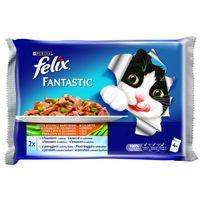 Felix alutasakos macskaeledel – Halas válogatás zöldségekkel – Multipack (4 x 100 g)