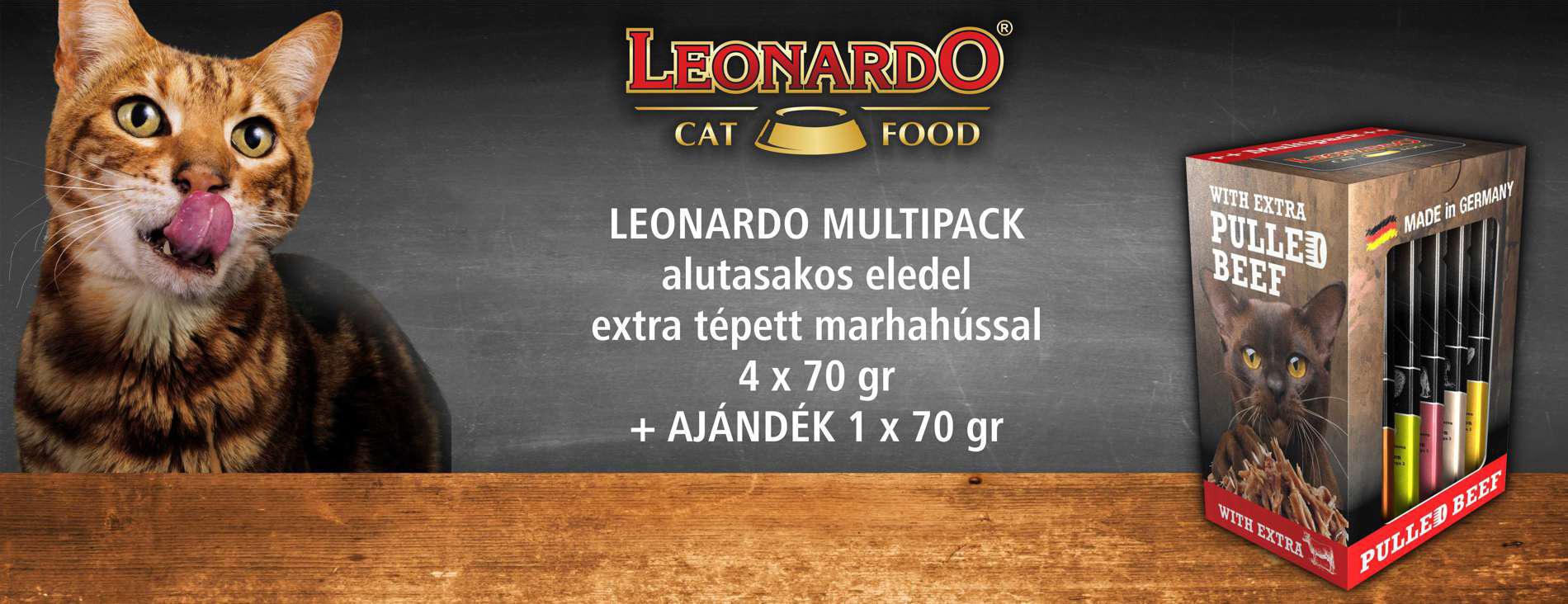 Leonardo Multipack - With Extra Pulled Beef - Alutasakos macskaeledel extra tépett marhahússal, multipack kiszerelésben