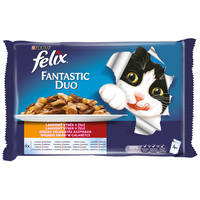Felix Fantastic Duo házias válogatás aszpikban macskáknak - Multipack (4 x 100 g)
