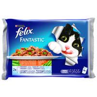 Felix Fantastic aszpikos eledel lazaccal és cukkinivel, valamint pisztránggal és zöldbabbal macskáknak - Multipack (4 x 100 g)