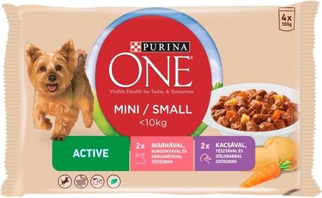 Purina One Mini/Small Active marhával és kacsával nedves kutyaeledel