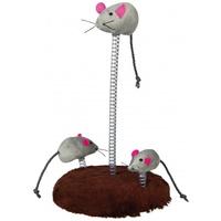 Trixie macskajáték rúgókra rögzített plüss egerekkel