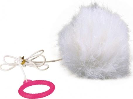 Trixie szőrmelabda rugalmas gumikötélen macskáknak