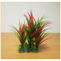 Hosszú piros és zöld levelű akváriumi palás műnövény
