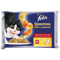Felix Sensations húsos-zöldséges válogatás (marha, csirke) zamatos aszpikban - Multipack (4 x 100 g)