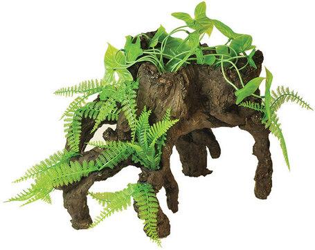 Happet növényekkel benőtt fa dekoráció akváriumba