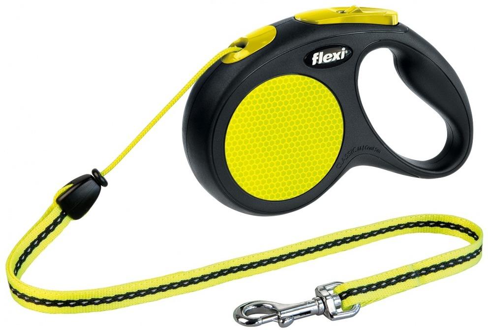 0ab66a6a9464 Flexi Neon fényvisszaverő automata kötélpóráz sárga-fekete színben