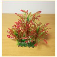 Akváriumi műnövény vöröses árnyalatú hullámos levelekkel