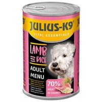 Julius-K9 Lamb & Rice szaftos húsdarabok ízletes mártásban konzerv kutyáknak