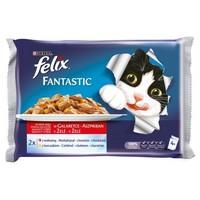 Felix marha- és csirkehúsos macskaeledel alutasakban multipack kiszerelésben (4 x 100 g)