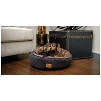 Agui Furry Donut szőrös kerek fekhely kutyáknak - Fekete