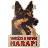Vigyázz a kutya harap! – Német juhászt ábrázoló figyelmeztető tábla