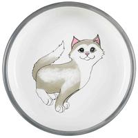 Trixie szürke-fehér tappancsmintás kerámia tál vigyorgó macskával