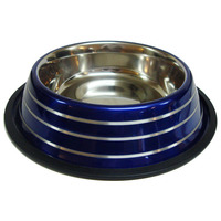 Happet kék kutyatál ezüst csíkokkal