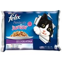 Felix Junior csirkehúsos és lazacos macskaeledel alutasakban multipack kiszerelésben (4 x 100 g)