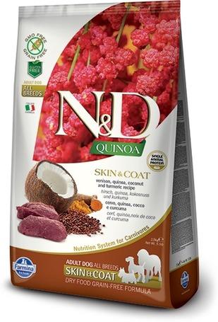 N&D Dog Grain Free Quinoa Skin & Coat Venison – Bőr- és szőrproblémákra | Szarvashúsos kutyatáp