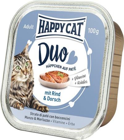 Happy Cat Duo tőkehalas és marhahúsos pástétom falatkák alutálkában
