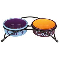 Trixie kék/lila/narancs kerámia tál szett fém állványon macskáknak