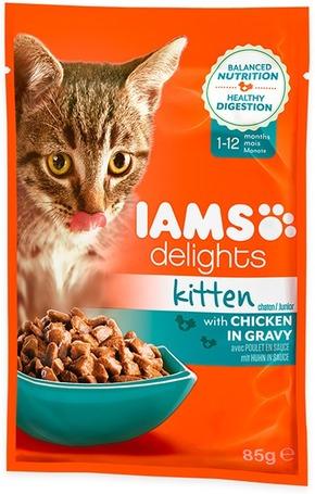 IAMS Cat Delights Kitten – Csirke falatkák ízletes szószban