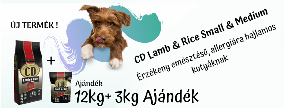 CD Lamb & Rice Small & Medium érzékeny emésztésű, allergiára hajlamos kistestű kutyáknak ---> 12 + 3 kg-os promóció