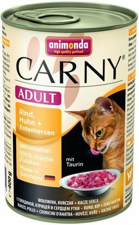 Animonda Carny Adult marhás, csirkés és kacsaszíves konzerv macskáknak