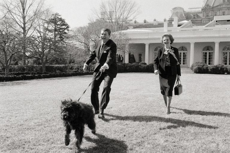 Reagen amerikai elnök és felesége sétáltatják a kutyájukat