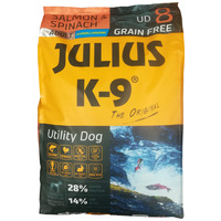 Julius-K9 GF Hypoallergenic Utility Dog Adult Salmon & Spinach | Lazacos és spenótos kutyatáp | Gabonamentes