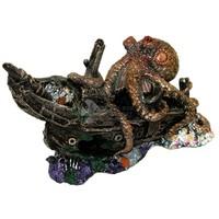 Műgyanta hajóroncs polippal - Akvárium dekor