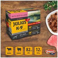 Julius-K9 Beef & Lamb szószos falatok | Marhás és bárányos kutyaeledel alutasakban