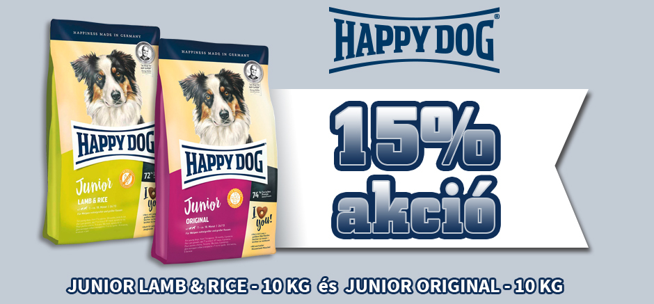 Happy Dog Junior Original és Happy Dog Junior Lamb & Rice tápok most 15% kedvezménnyel