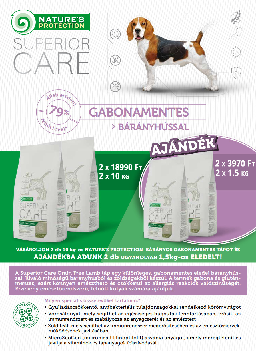 Nature's Protection Superior Care Grain Free Lamb Okosgazdi promóció