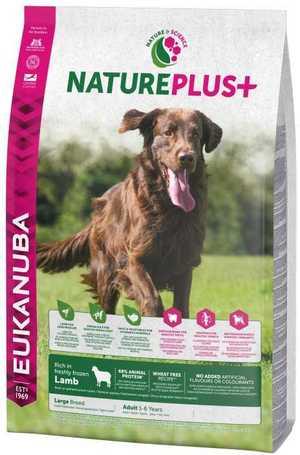Eukanuba NaturePlus+ Adult Large Lamb | Természetes táp nagytestű kutyáknak bárányhússal | Szuperprémium kutyaeledel