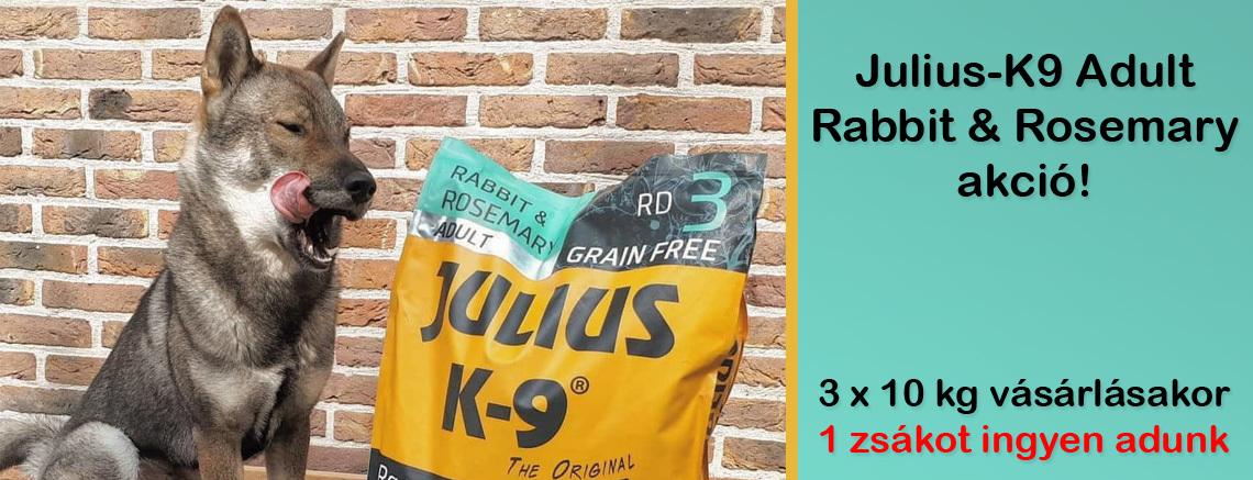 Julius-K9 Adult Rabbit & Rosemary akció - 3 x 10 kg vásárlásakor1 zsákotingyen adunk