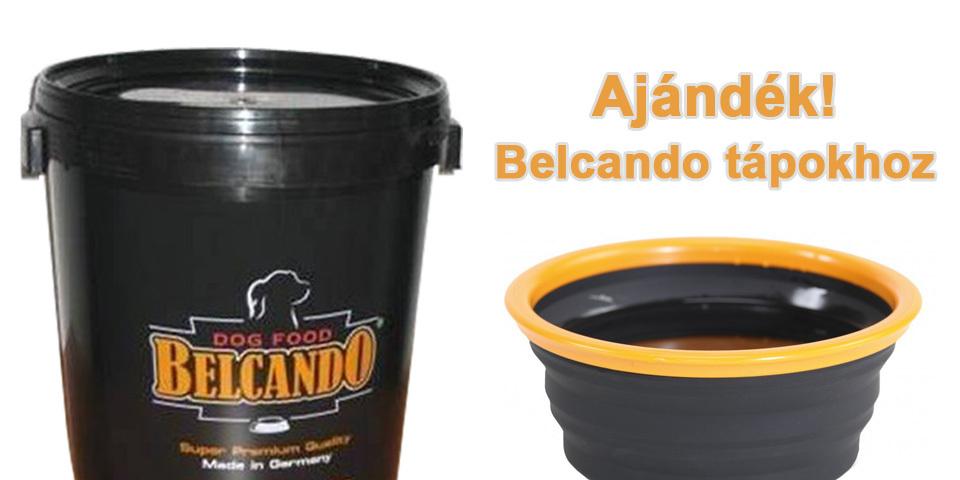 Most ajándék gumis etetőtál és táptartó hordó a Belcando tápokhoz