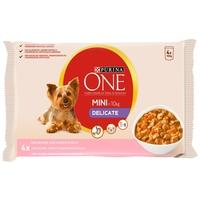 Purina One Mini Delicate lazaccal, rizzsel és sárgarépával szószban - Alutasakos eledel kistestű kutyáknak