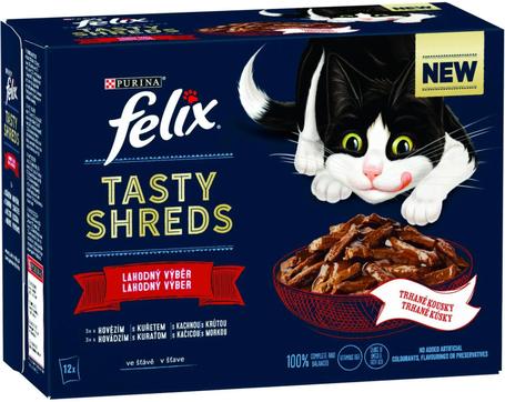 Felix Shreds házias válogatás - Marhás, csirkés, kacsás és pulykás tépett falatok szószban macskáknak - Multipack