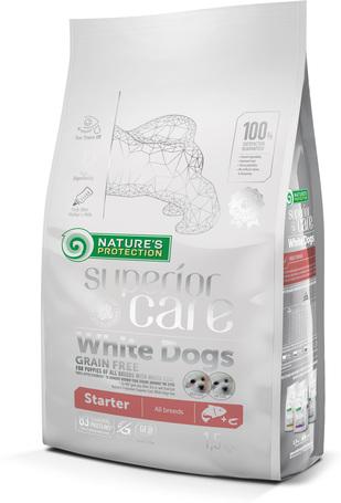 Nature's Protection Superior Care White Dogs Starter Grain Free Salmon All Breeds | Fehér szőrű kölyökkutyáknak készült lazacos eledel