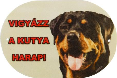 Vigyázz a kutya harap! - Ovális, színes tábla - Rottweiler
