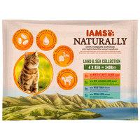 IAMS Naturally Cat – Szószos macskaeledel alutasakban – Multipack