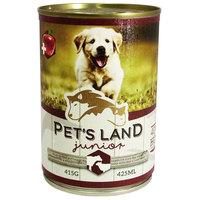 Pet's Land Dog Junior konzerv marhamájjal, bárányhússal és almával