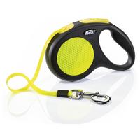 Flexi Neon fényvisszaverő automata szalagpóráz sárga-fekete színben
